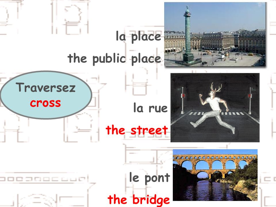 Traversez cross la place the public place la rue the street le pont the bridge