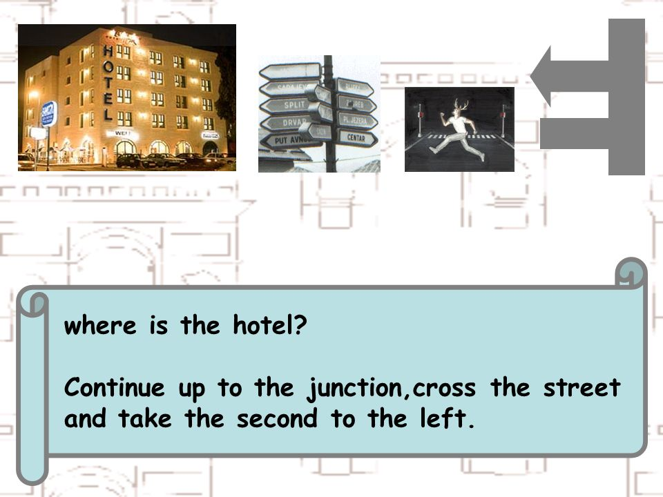 where is the hotel Continue up to the junction,cross the street and take the second to the left.