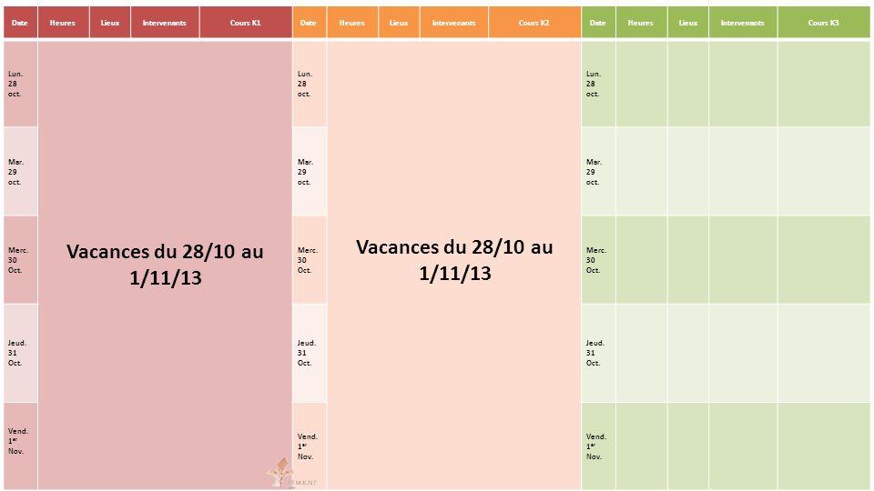 DateHeuresLieuxIntervenantsCours K1DateHeuresLieuxIntervenantsCours K2DateHeuresLieuxIntervenantsCours K3 Lun. 28 oct. Vacances du 28/10 au 1/11/13 Lu