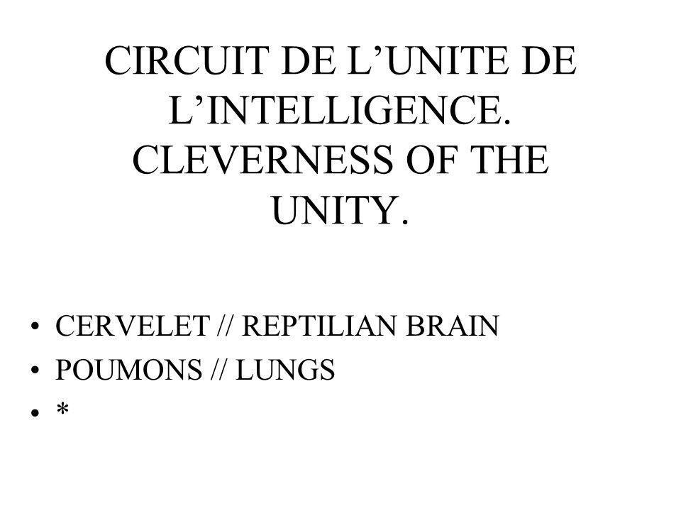 CIRCUIT DE LUNITE DE LINTELLIGENCE. CLEVERNESS OF THE UNITY.