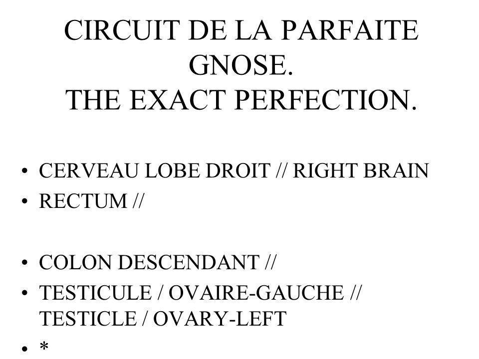 CIRCUIT DE LA PARFAITE GNOSE. THE EXACT PERFECTION.