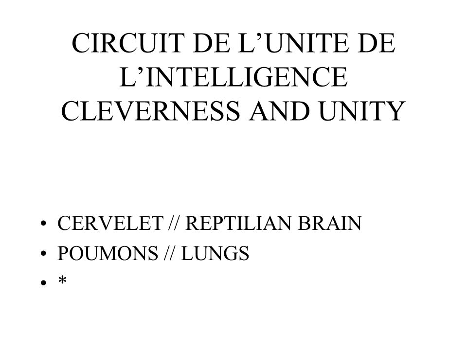 CIRCUIT DE LUNITE DE LINTELLIGENCE CLEVERNESS AND UNITY CERVELET // REPTILIAN BRAIN POUMONS // LUNGS *