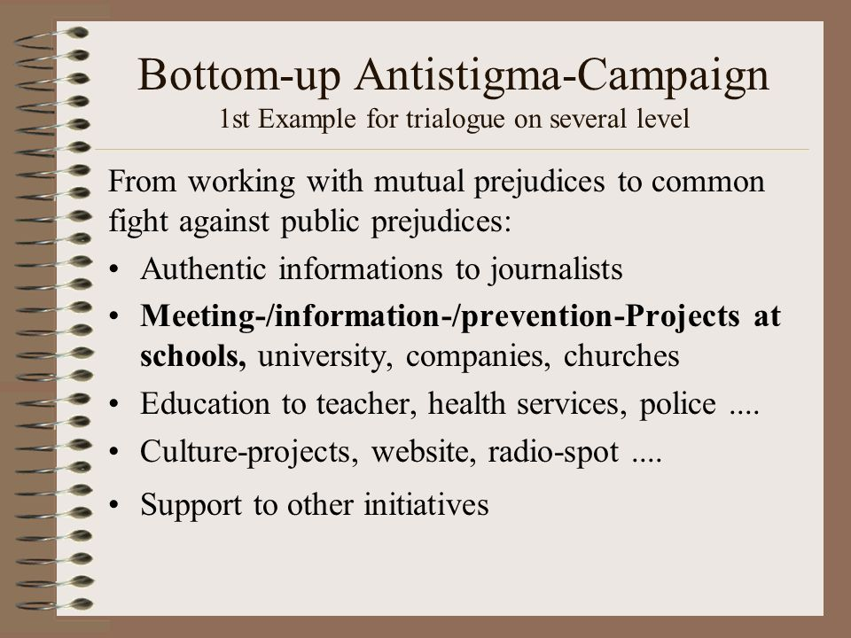 Bottom-up Antistigma-Campaign 1st Example for trialogue on several level From working with mutual prejudices to common fight against public prejudices