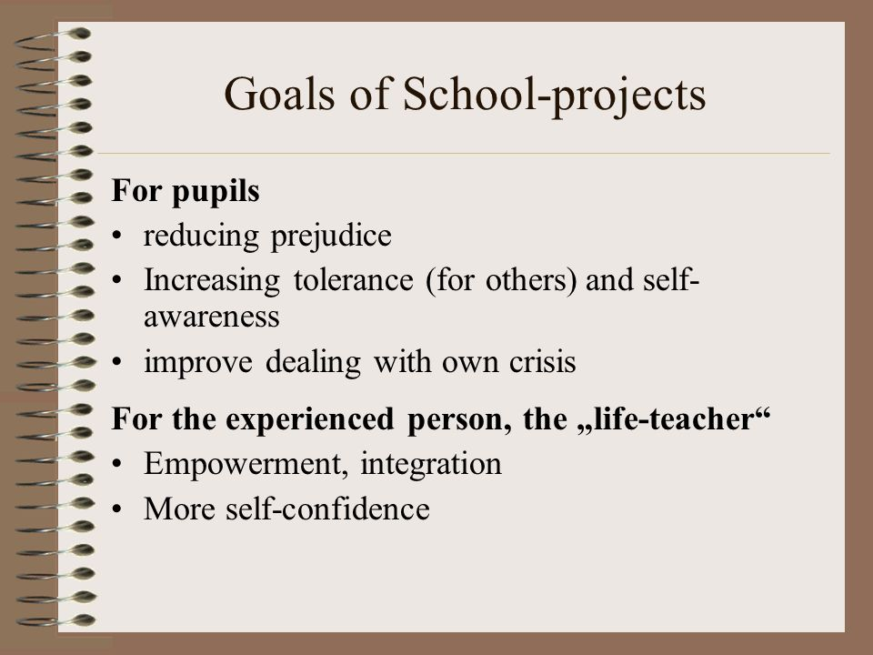 Goals of School-projects For pupils reducing prejudice Increasing tolerance (for others) and self- awareness improve dealing with own crisis For the e