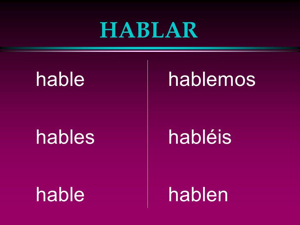 The Subjunctive l For -ar verbs: l e, es, e, emos, éis, en l For -er/-ir verbs: l a, as, a, amos, áis, an