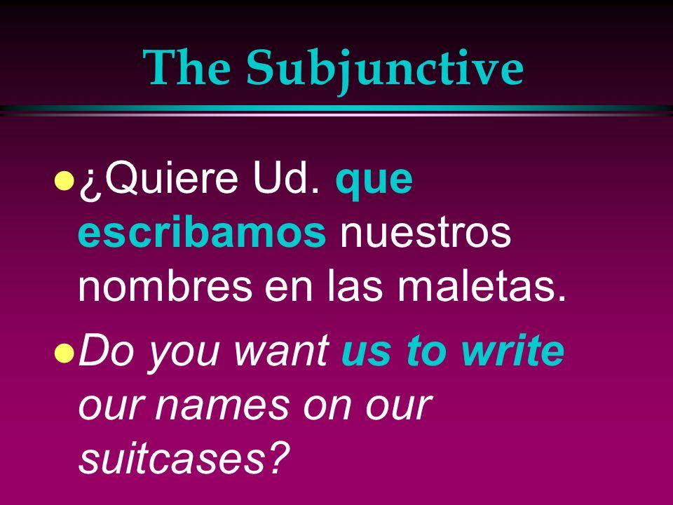 The Subjunctive l Recomendamos que Uds. hablen con un agente de viajes. l We recommend that you speak with a travel agent.