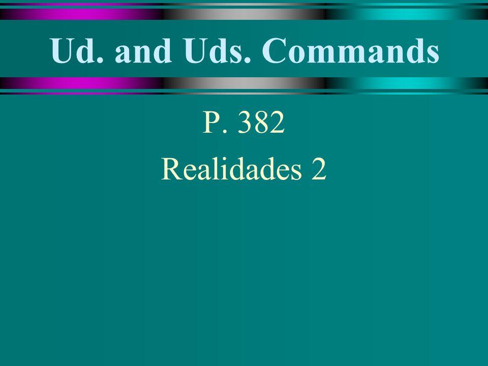 Ud.and Uds. Commands u Buscar - Negative tú command.