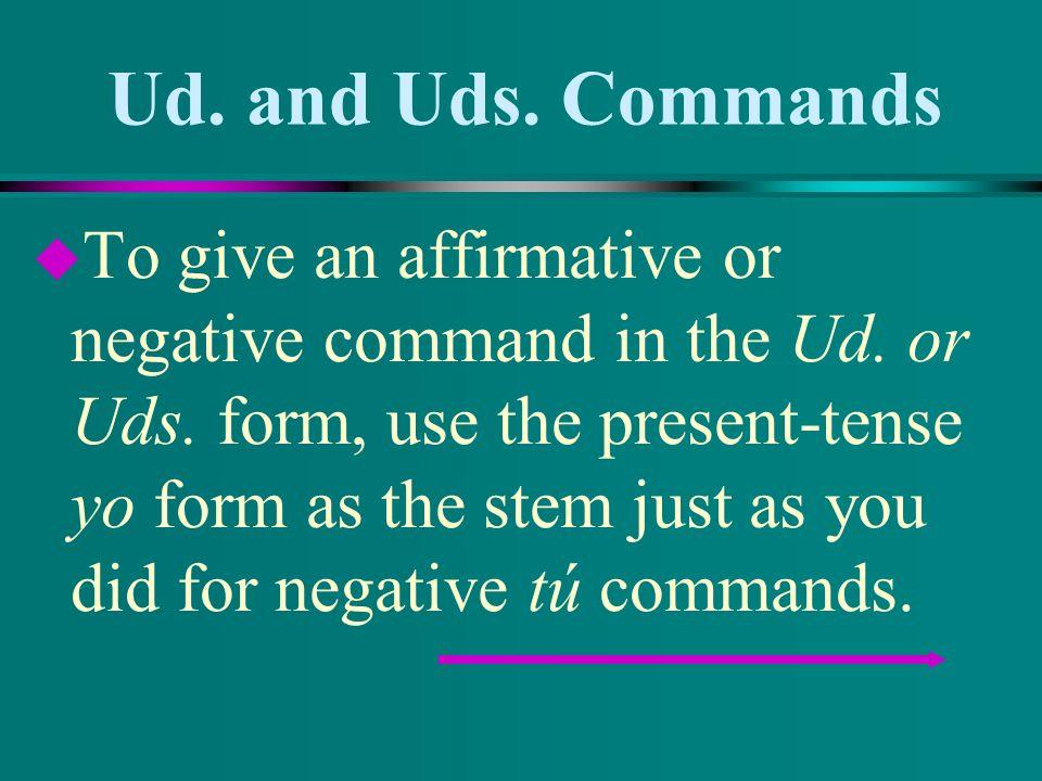 Ud.and Uds. Commands u Hacer - Negative tú command.