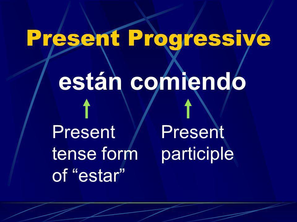 Present Progressive están comiendo Present tense form of estar Present participle
