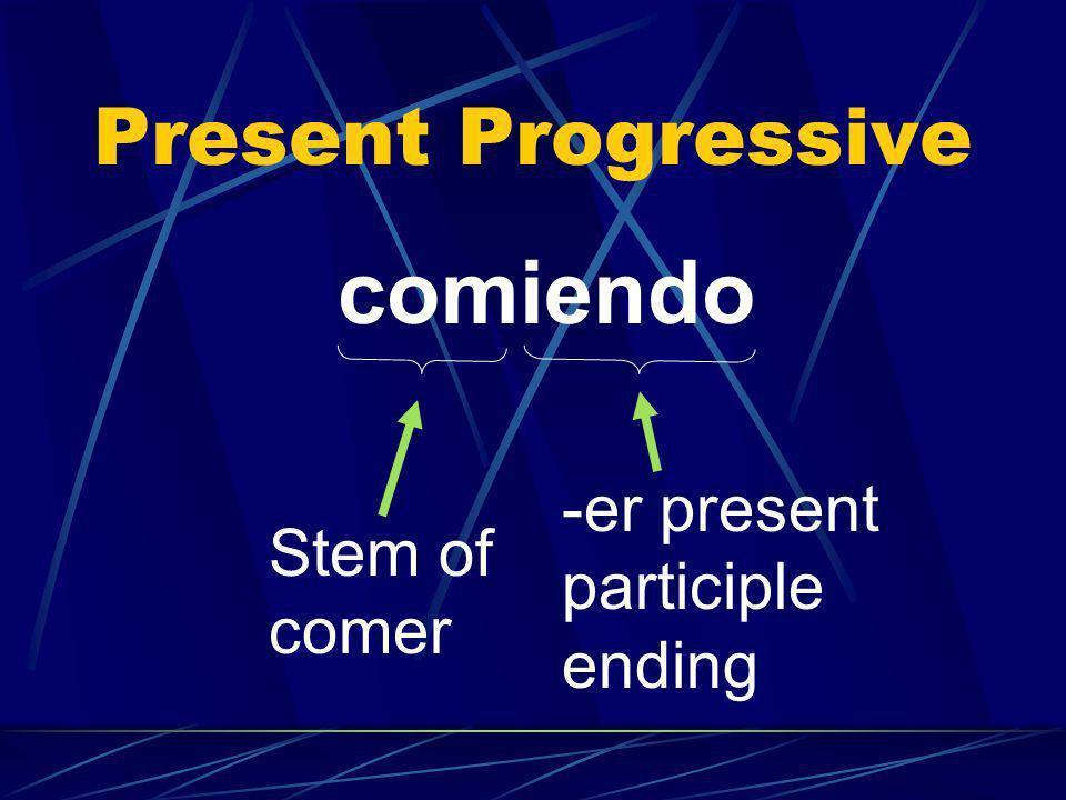 Present Progressive comiendo Stem of comer -er present participle ending
