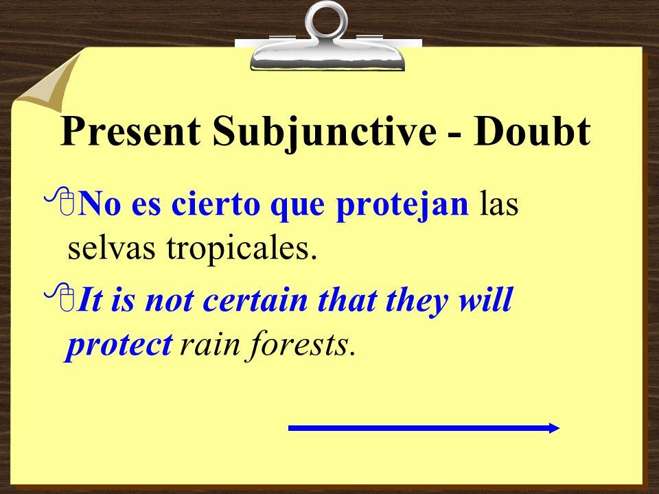 Present Subjunctive - Doubt 8Dudamos que puedan resolver todos los problemas. 8We doubt that they can solve all the problems.
