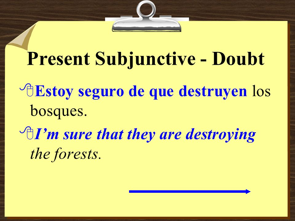 Present Subjunctive - Doubt 8When the verb or expression indicates certainty, use the indicative, not the subjunctive.