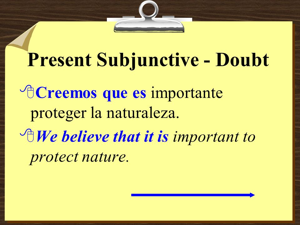 Present Subjunctive - Doubt 8Estoy seguro de que destruyen los bosques. 8Im sure that they are destroying the forests.