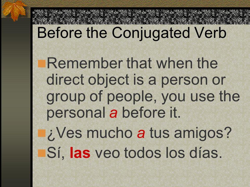 Before the Conjugated Verb: ¿Probaste el pescado? Sí, lo probé.