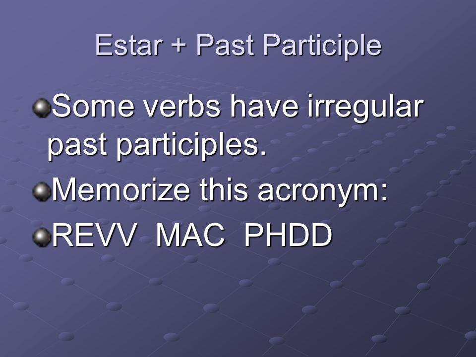 Estar + Past Participle Some verbs have irregular past participles.