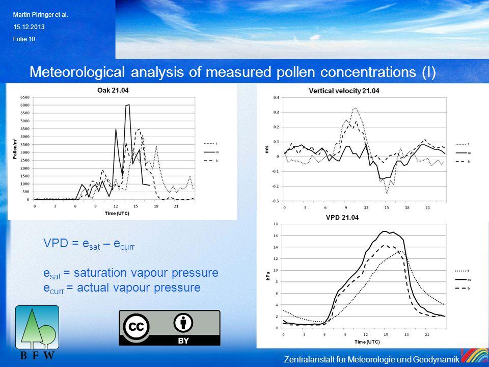 Zentralanstalt für Meteorologie und Geodynamik Meteorological analysis of measured pollen concentrations (I) 15.12.2013 Martin Piringer et al. Folie 1