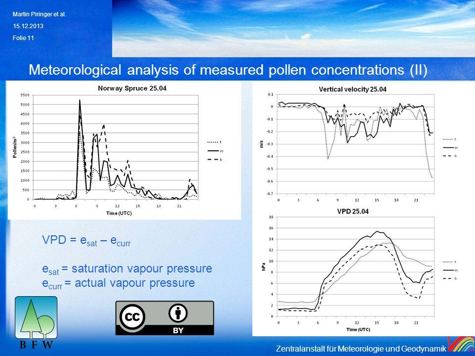 Zentralanstalt für Meteorologie und Geodynamik Meteorological analysis of measured pollen concentrations (II) 15.12.2013 Martin Piringer et al. Folie