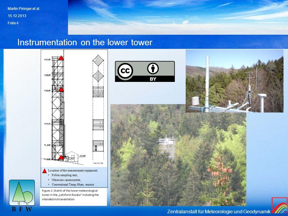 Zentralanstalt für Meteorologie und Geodynamik Instrumentation on the lower tower 15.12.2013 Martin Piringer et al. Folie 4