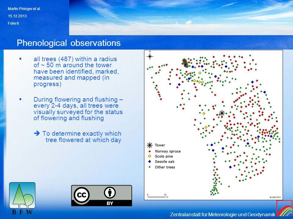 Zentralanstalt für Meteorologie und Geodynamik Phenological observations all trees (487) within a radius of ~ 50 m around the tower have been identifi