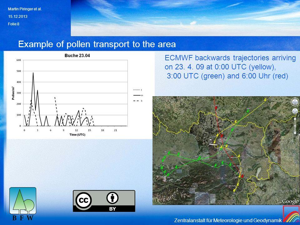 Zentralanstalt für Meteorologie und Geodynamik Example of pollen transport to the area 15.12.2013 Martin Piringer et al. Folie 8 ECMWF backwards traje
