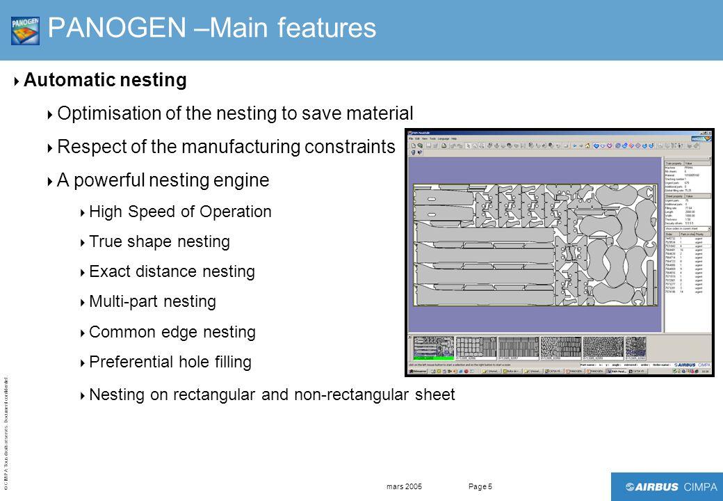 © CIMPA Tous droits réservés. Document confidentiel. mars 2005Page 5 PANOGEN –Main features Automatic nesting Optimisation of the nesting to save mate