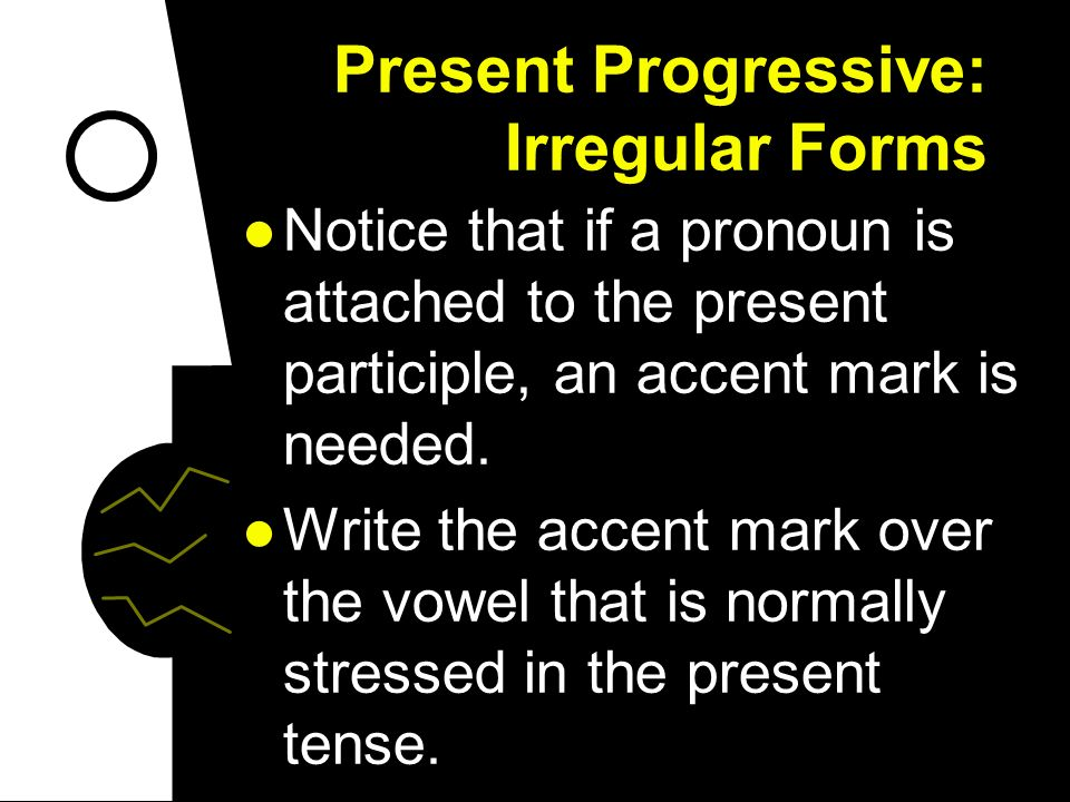 Present Progressive: Irregular Forms When you use pronouns (direct / indirect & reflexive) with the present progressive, you can put them before the c