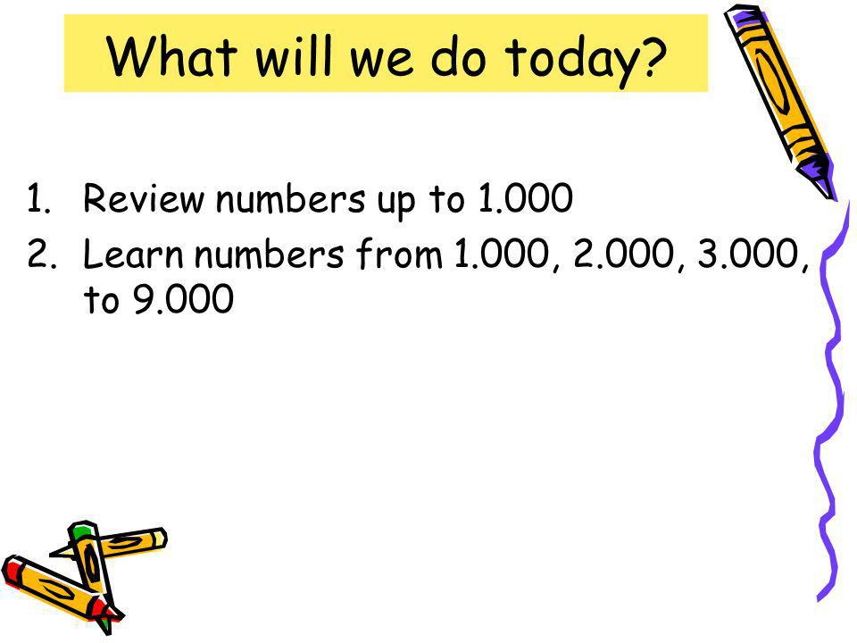 What will we do today? 1.Review numbers up to 1.000 2.Learn numbers from 1.000, 2.000, 3.000, to 9.000