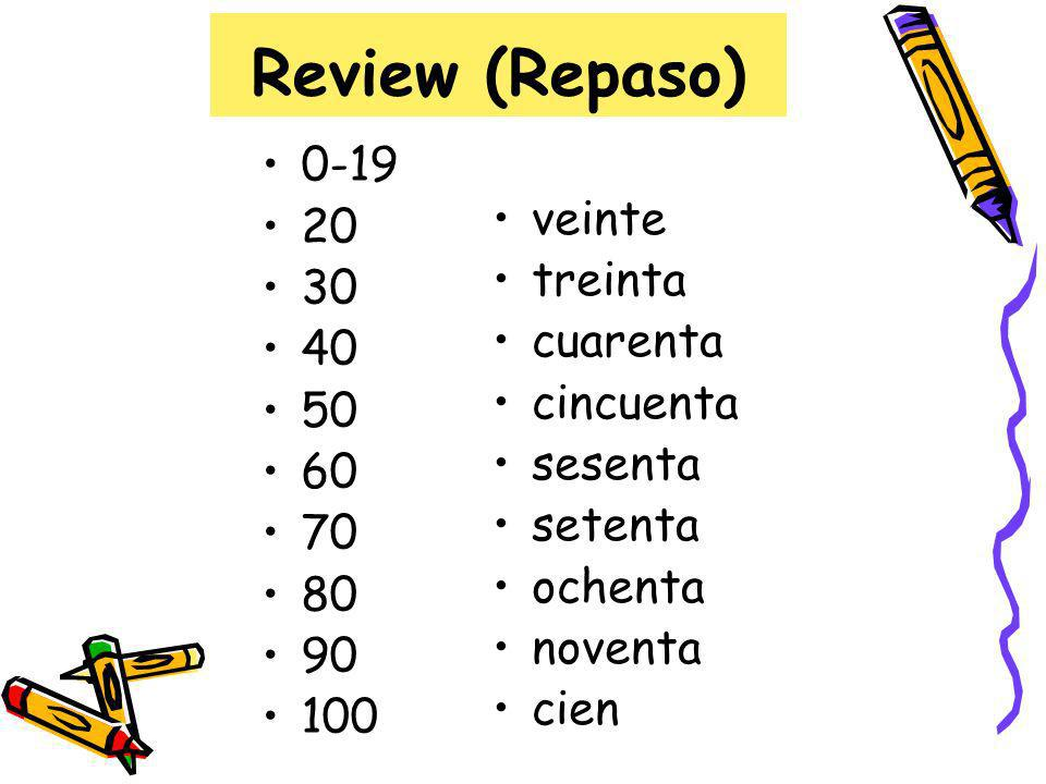 Review (Repaso) TrickEjemplo 21-29veinti + númeroveintidós 31-39treinta y + númerotreinta y tres 41-49cuarenta y + númerocuarenta y seis 91-99noventa y + númeronoventa y nueve Notice: the numbers that only form one word are…