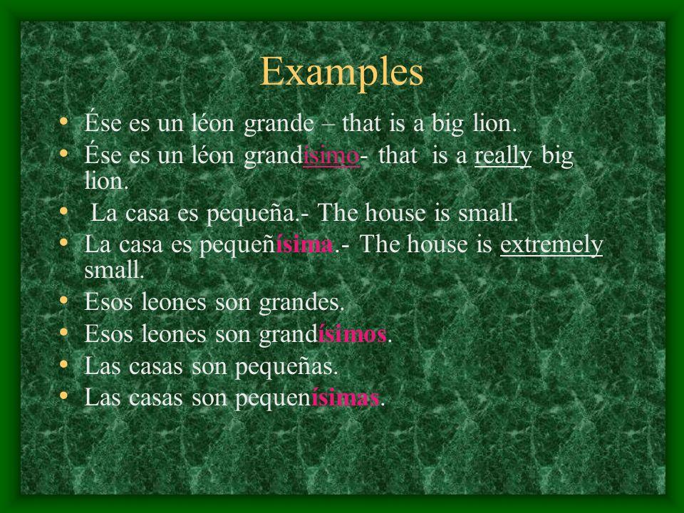 Examples Ése es un léon grande – that is a big lion. Ése es un léon grandísimo- that is a really big lion. La casa es pequeña.- The house is small. La