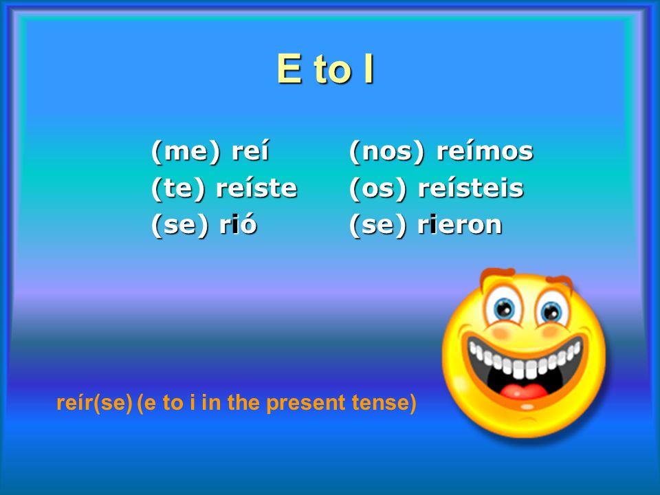 E to I (me) reí (nos) reímos (te) reíste (os) reísteis (se) rió (se) rieron reír(se) (e to i in the present tense)