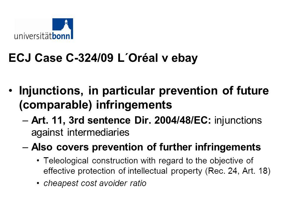 ECJ Case C-324/09 L´Oréal v ebay Injunctions, in particular prevention of future (comparable) infringements –Art. 11, 3rd sentence Dir. 2004/48/EC: in