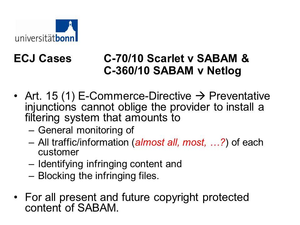 ECJ Cases C-70/10 Scarlet v SABAM & C-360/10 SABAM v Netlog Art. 15 (1) E-Commerce-Directive Preventative injunctions cannot oblige the provider to in