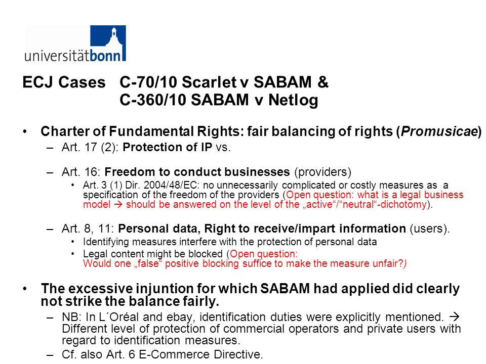 ECJ Cases C-70/10 Scarlet v SABAM & C-360/10 SABAM v Netlog Charter of Fundamental Rights: fair balancing of rights (Promusicae) –Art. 17 (2): Protect