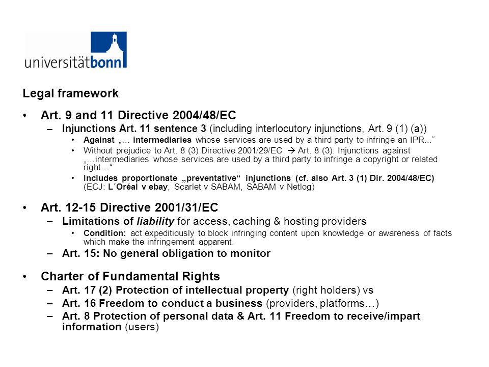 Legal framework Art. 9 and 11 Directive 2004/48/EC –Injunctions Art. 11 sentence 3 (including interlocutory injunctions, Art. 9 (1) (a)) Against … int