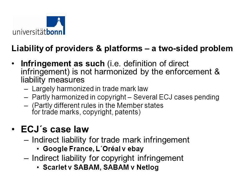 I.Overview II.The ECJ´s judgments in - Google France - L´Oréal v ebay III.The ECJ´s judgments in - Scarlet v SABAM - SABAM v Netlog IV.Some open questions (Summary)