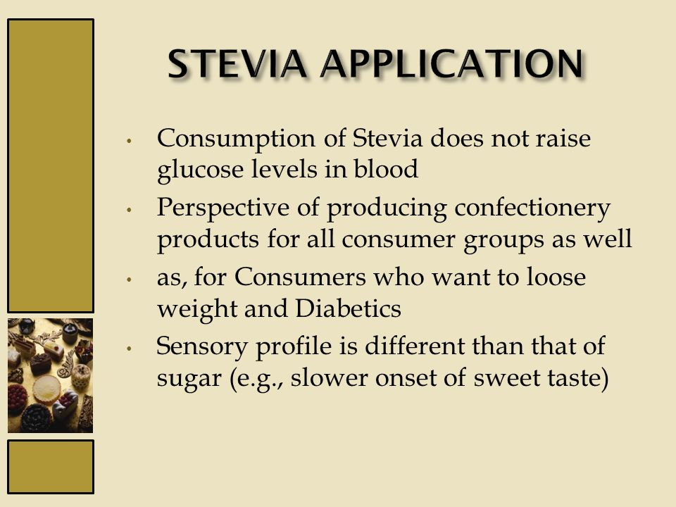 Consumption of Stevia does not raise glucose levels in blood Perspective of producing confectionery products for all consumer groups as well as, for C