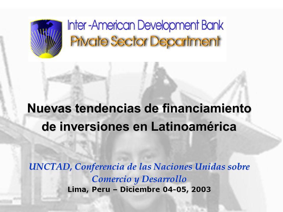 2 IDB/PRI/CMU/October 2003 Contents Latin America Overview (2002-2003) Latin America Overview (2002-2003) Capital Flows to LATAM (1998-2003) Capital Flows to LATAM (1998-2003) Private Financing in the Region, Overview (2002-2003) Private Financing in the Region, Overview (2002-2003) IDB and its risk mitigation products: IDB and its risk mitigation products: Cross-border financing products Cross-border financing products Local currency financing products (financial guarantees) Local currency financing products (financial guarantees) Experience in Infrastructure and Financial Sectors Experience in Infrastructure and Financial Sectors
