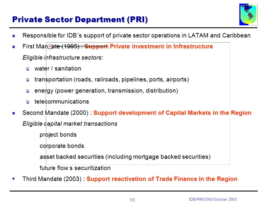 10 IDB/PRI/CMU/October 2003 Private Sector Department (PRI) Responsible for IDB´s support of private sector operations in LATAM and Caribbean Responsible for IDB´s support of private sector operations in LATAM and Caribbean First Mandate (1995) : Support Private Investment in Infrastructure First Mandate (1995) : Support Private Investment in Infrastructure Eligible infrastructure sectors: water / sanitation water / sanitation transportation (roads, railroads, pipelines, ports, airports) transportation (roads, railroads, pipelines, ports, airports) energy (power generation, transmission, distribution) energy (power generation, transmission, distribution) telecommunications telecommunications Second Mandate (2000) : Support development of Capital Markets in the Region Second Mandate (2000) : Support development of Capital Markets in the Region Eligible capital market transactions project bonds corporate bonds asset backed securities (including mortgage backed securities) future flow s securitization Third Mandate (2003) : Support reactivation of Trade Finance in the Region Third Mandate (2003) : Support reactivation of Trade Finance in the Region