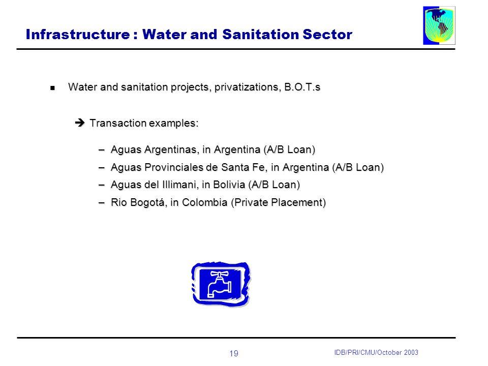 19 IDB/PRI/CMU/October 2003 Infrastructure : Water and Sanitation Sector Water and sanitation projects, privatizations, B.O.T.s Water and sanitation projects, privatizations, B.O.T.s Transaction examples: Transaction examples: –Aguas Argentinas, in Argentina (A/B Loan) –Aguas Provinciales de Santa Fe, in Argentina (A/B Loan) –Aguas del Illimani, in Bolivia (A/B Loan) –Rio Bogotá, in Colombia (Private Placement)
