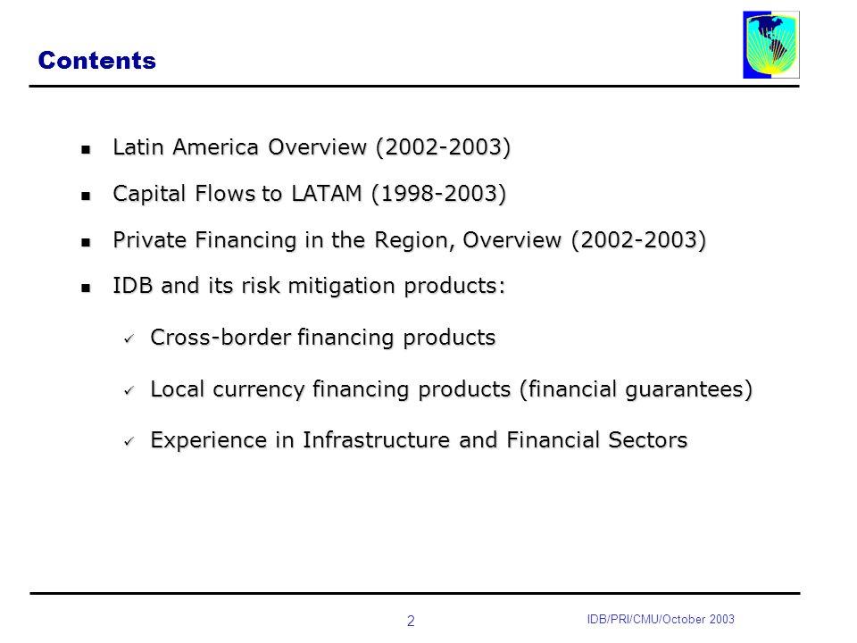 3 IDB/PRI/CMU/October 2003 IDB : LATAM (2002-2003) Overview Slow economic growth between 2001 and 2003 (<1%).