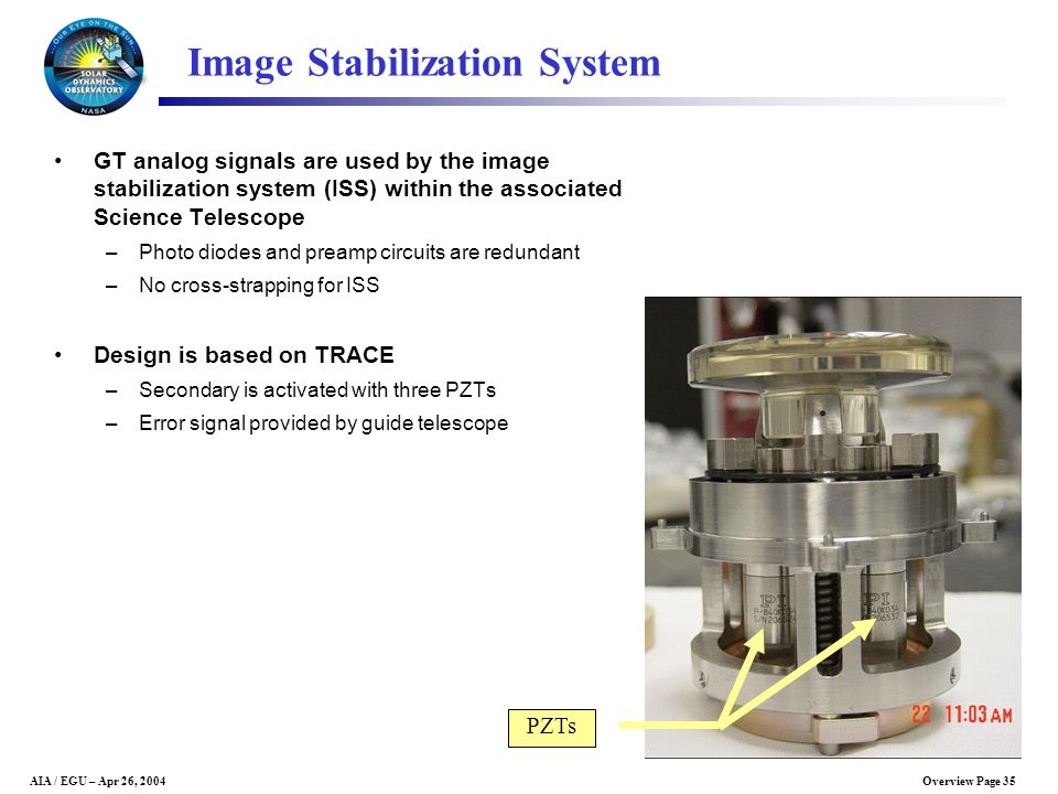 Overview Page 35AIA / EGU – Apr 26, 2004 Image Stabilization System GT analog signals are used by the image stabilization system (ISS) within the asso