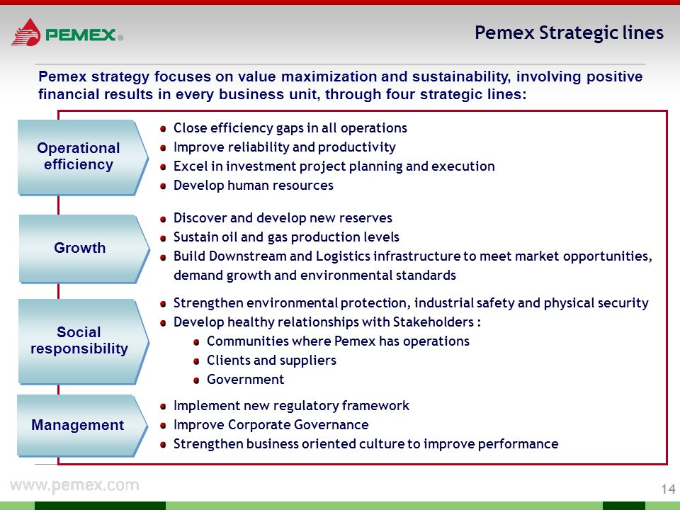 13 Natural Gas and Petrochemicals Strategies Increase process infrastructure according to primary production (sweetening, NGL recovery, liquid fractio