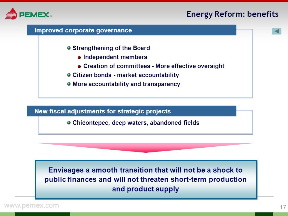 16 Energy Reform: benefits Deregulation / new operational flexibility New budgetary flexibility More latitude in contracting debt Gradual use of companys profits Increase legal certainty New contractual models for high complexity projects New modalities for contracting construction and services The energy reform represents an answer to diverse aspects of Pemexs problems providing several benefits: