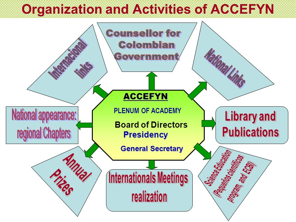 Organization and Activities of ACCEFYNACCEFYN PLENUM OF ACADEMY Presidency Board of Directors Presidency General Secretary General Secretary