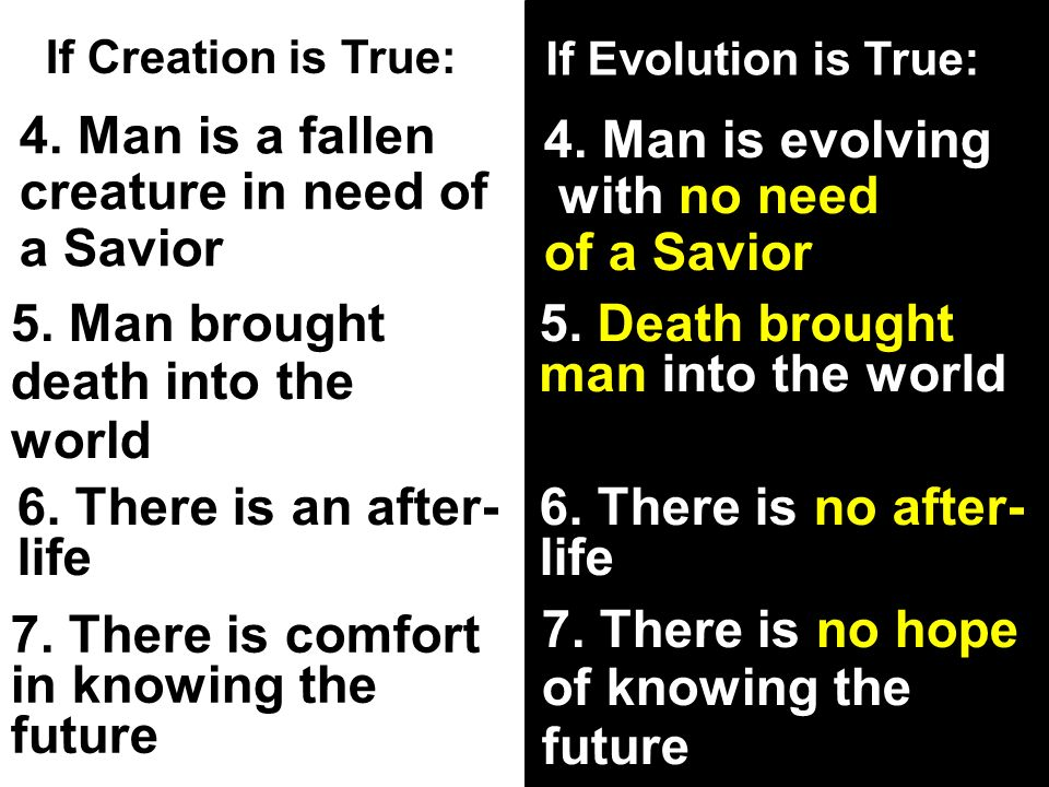 If Creation is True: If Evolution is True: 4. Man is a fallen creature in need of a Savior 4.