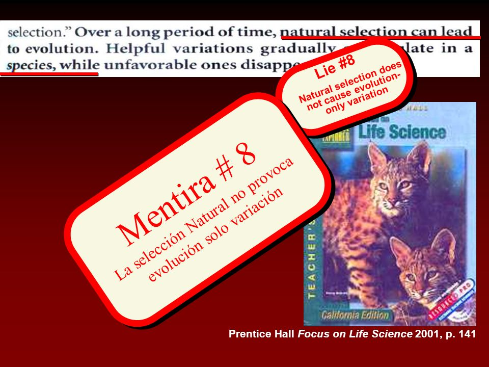 Prentice Hall Focus on Life Science 2001, p. 141 Mentira # 8 La selección Natural no provoca evolución solo variación Natural selection does not cause