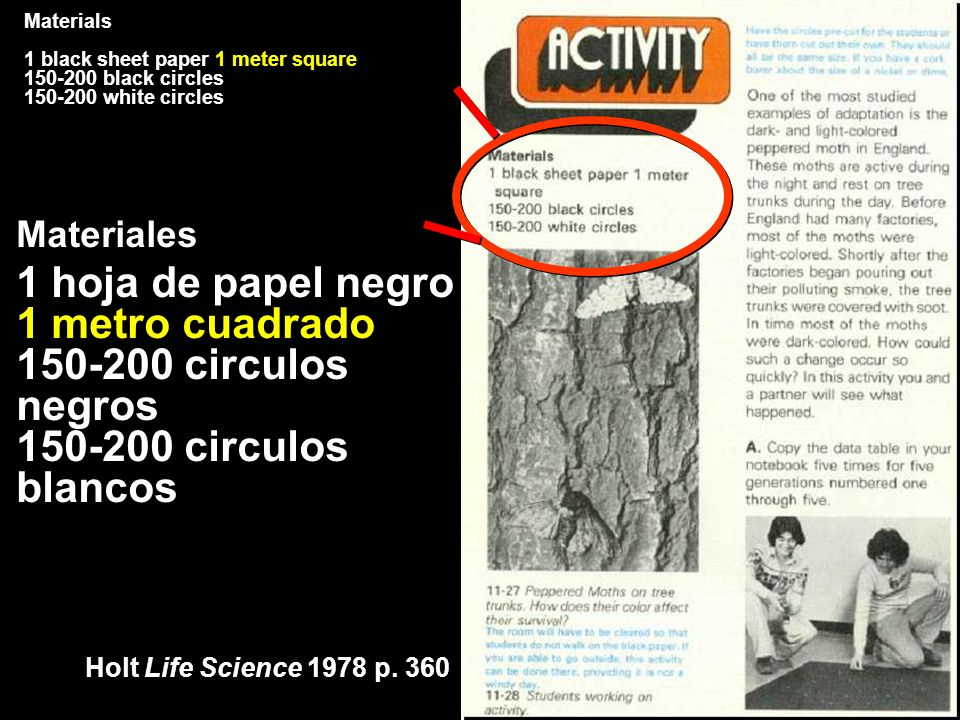 Holt Life Science 1978 p. 360 Materials 1 black sheet paper 1 meter square 150-200 black circles 150-200 white circles Materiales 1 hoja de papel negr