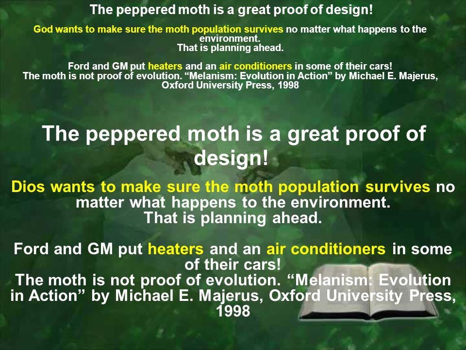 God wants to make sure the moth population survives no matter what happens to the environment.