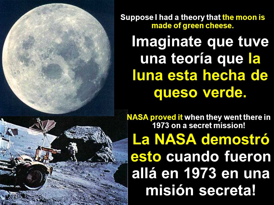 Suppose I had a theory that the moon is made of green cheese.