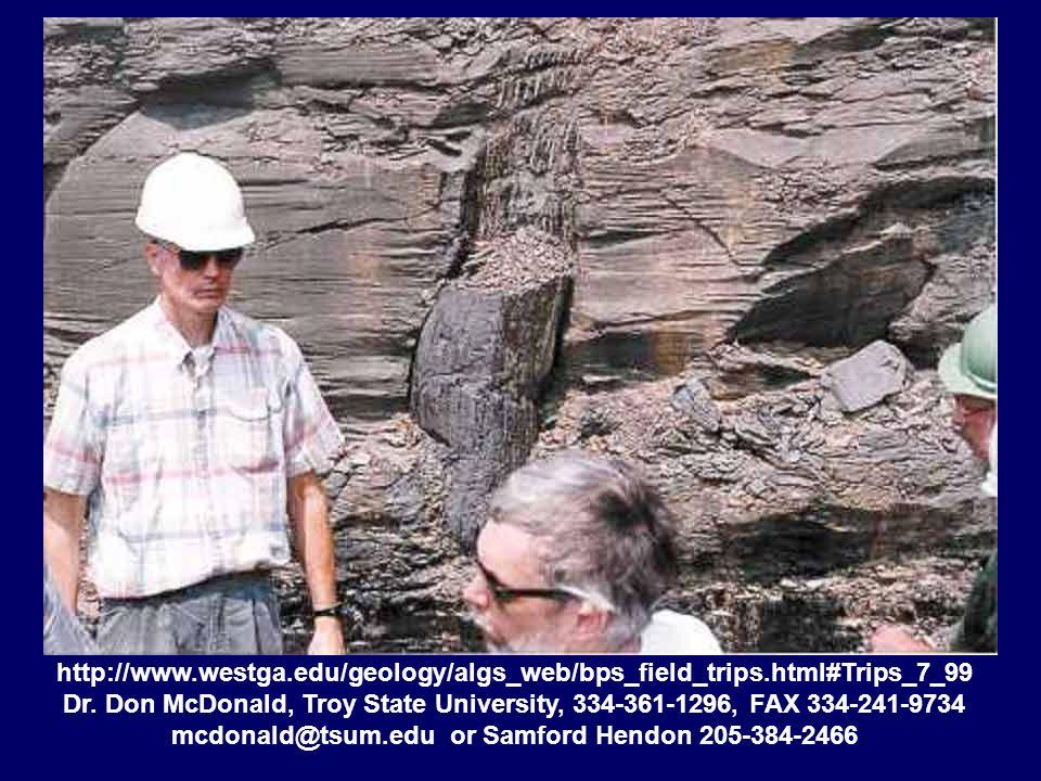 http://www.westga.edu/geology/algs_web/bps_field_trips.html#Trips_7_99 Dr. Don McDonald, Troy State University, 334-361-1296, FAX 334-241-9734 mcdonal